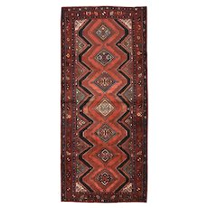 Persian Hamadan Runner, 4' x 10', Red/Burgundy, Hand-Knotted Wool Pile