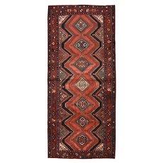 Persian Hamadan Runner, 4' x 10', Red/Burgundy, Hand-Knotted Wool Pile