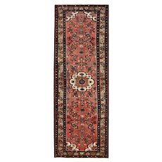 Persian Hamadan Runner, 4' x 10', Red/Brown, Hand-Knotted Wool Pile