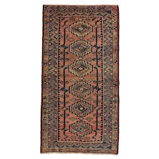Vintage Persian Hamadan Rug, 4'x8', Red/Blue, Hand-Knotted Wool Pile