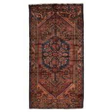 Persian Hamadan Rug, 3'5'' x 6'6'', Red/Rust, Hand-Knotted