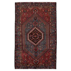 Persian Hamadan Rug, 5'x7', Red/Blue, Hand-Knotted