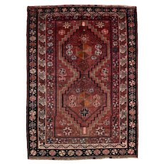 Persian Luri Rug, 5'x7', Wine/Ivory, Hand-Knotted