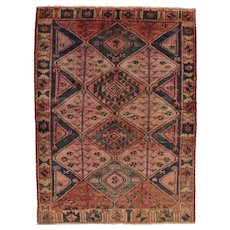 Persian Shiraz Rug, 5'x7', Red/Beige, Hand-Knotted