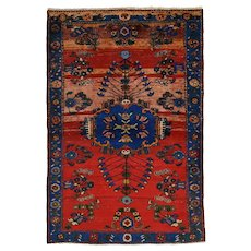 Vintage Persian Malayer Rug, 4'x6', Hand-Knotted Wool Pile
