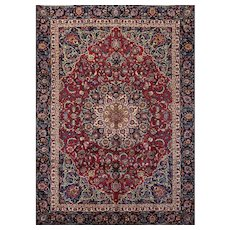 Vintage Persian Mashad Rug, 7'x10', Hand-Knotted