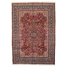 Vintage Persian Mashad Rug, 8'x11', Hand-Knotted