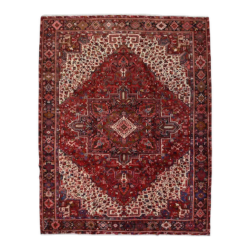 Vintage Persian Heriz Rug, 10'x13', Hand-Knotted Wool Pile