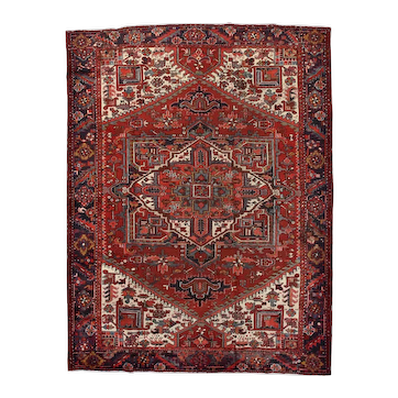 Vintage Persian Heriz Rug, 9'x12', Hand-Knotted
