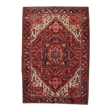 Vintage Persian Heriz Rug, 8'x11', Hand-Knotted