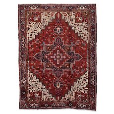 Vintage Persian Heriz Rug, 10'x14', Hand-Knotted