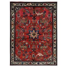 Vintage Persian Hamadan Rug, 4'x5', Hand-Knotted