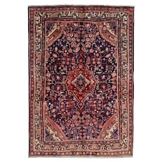 Vintage Persian Malayer Jozan Rug, 4'x5', Hand-Knotted