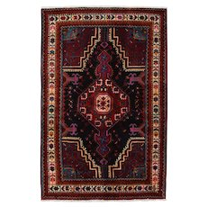 Vintage Persian Hamadan Rug, 3'x5', Hand-Knotted