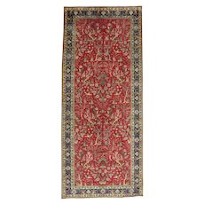 Vintage Persian Tabriz Rug, 5'x12', Hand-Knotted