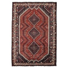 Vintage Persian Shiraz Rug, 7'x9', Hand-Knotted