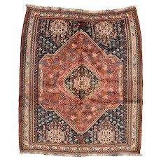 Vintage Persian Qashqai Rug, 6'x7', Hand-Knotted
