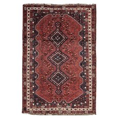 Vintage Persian Shiraz Rug, 7'x10', Hand-Knotted