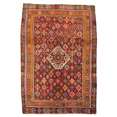 Vintage Persian Qashqai Rug, 5'x8', Hand-Knotted Wool Pile