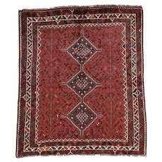 Vintage Persian Shiraz Rug, 5'x6', Hand-Knotted