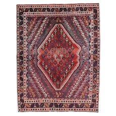 Vintage Persian Qashqai Rug, 5'x7', Hand-Knotted