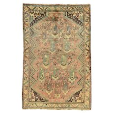 Vintage Persian Qashqai Rug, 4'x7', Hand-Knotted Wool Pile