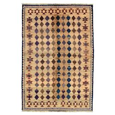 Vintage Persian Gabbeh Rug, 5'x7', Hand-Knotted