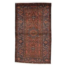 Vintage Persian Hamadan Rug, 5'x7', Hand-Knotted Wool Pile