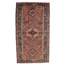 Vintage Persian Hamadan Rug, 4'x8', Hand-Knotted Wool Pile