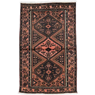 Vintage Persian Hamadan Rug, 4'x6', Hand-Knotted Wool Pile