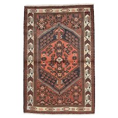 Vintage Persian Hamadan Rug, 4'x7', Hand-Knotted