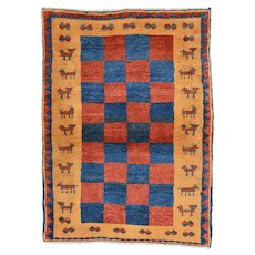 Vintage Persian Gabbeh Rug, 4'x5', Hand-Knotted