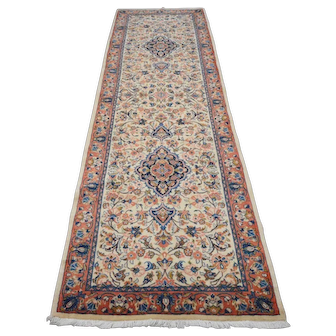Vintage Persian Sarouk Runner, 3'x10', Ivory/Coral, All wool pile