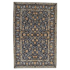 Fine Persian Kashan Rug, 5'x7', Blue, All wool pile