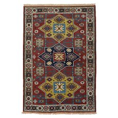 Vintage Persian Meshkin Rug, 4'x6', Hand-Knotted