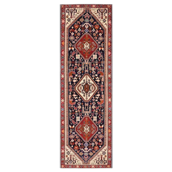 Fine Persian Abadeh Runner, 2'7''x8'6'', Blue/Red, All wool pile