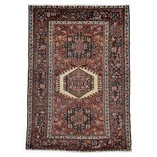 Vintage Persian Karajeh Rug, 5'x6', Hand-Knotted