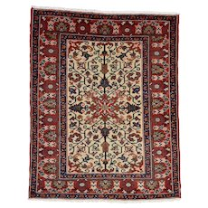 Vintage Persian Heriz Rug, 5'x6', Hand-Knotted