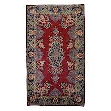 Vintage Persian Yazd Rug, 4'x8', Wine/Blue, All wool pile