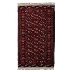 Vintage Persian Turkmen Rug, 4'x7', Hand-Knotted