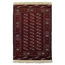 Vintage Persian Turkmen Rug, 4'x6', Hand-Knotted