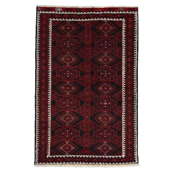 Vintage Persian Baluch Rug, 4'x6', Black/Wine, All wool pile