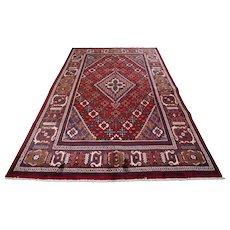 Vintage Persian Joshegan Rug, 7'x10', Red/Blue, All wool pile
