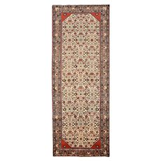 Persian Malayer Runner, 4' x 10', Ivory/Pink, Hand-Knotted Wool Pile