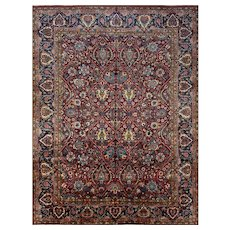 Persian Mashad Rug, 12' x 15', Wine/Blue, All wool pile