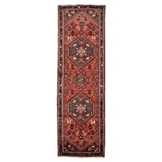 Persian Hamadan Runner, 3' x 11', Red/Blue, Hand-Knotted