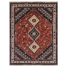 Persian Yalameh Rug, 5'1'' x 6'7'', Hand-Knotted Wool Pile