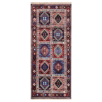 Authentic Persian Yalameh Runner, 3'x7', Multi-Color, All wool pile