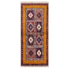 Authentic Persian Yalameh Runner, 3'x6', Multi/Gold, All wool pile