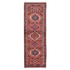 """Vintage Persian Karajeh Runner, 2'4''x6'9"""", Red/Blue, All wool pile"""